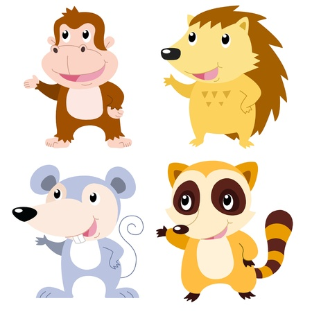 four cute animals with white background  Vector