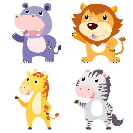 four cute animals with white background Stock Vector - 19860649