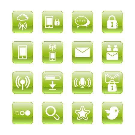 toolbar: web, communication icons: internet vector set. Illustration