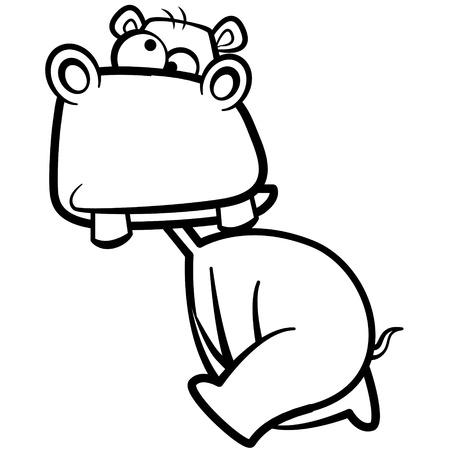 humor: coloring humor cartoon hippo running with white background.