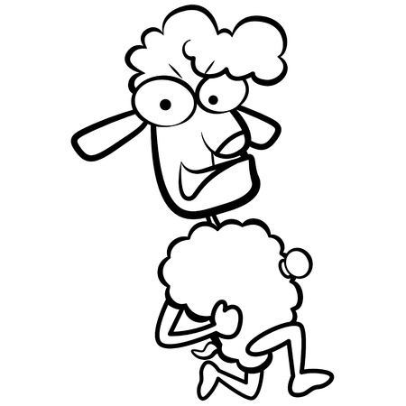coloring humor cartoon sheep running with white background  Vector