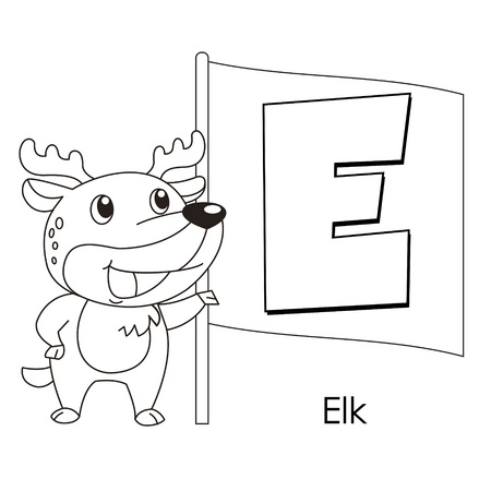 Coloring Alphabet for Kids, E with elk Vector