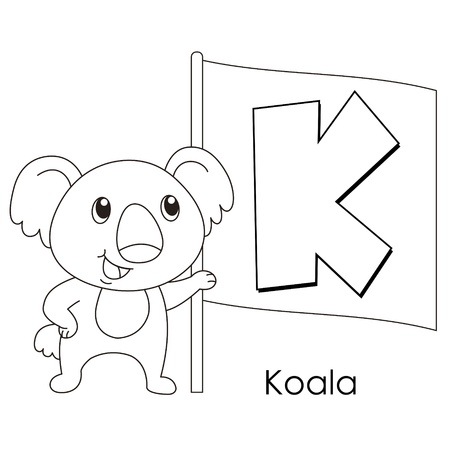 Coloring Alphabet for Kids, K with koala Vector