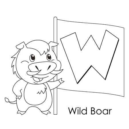 Coloring Alphabet for Kids, W with wild boar. Vector