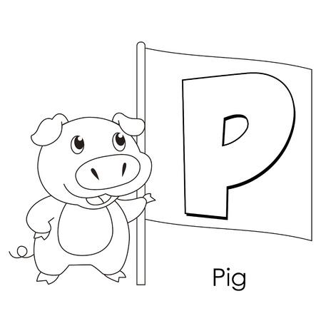 Alfabeto Para Colorear Para Niños, N Ilustraciones Vectoriales, Clip ...