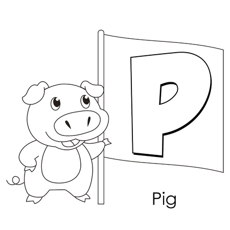 Coloring Alphabet for Kids, P with pig Vector