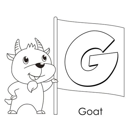 Coloring Alphabet for Kids, G with goat Vector