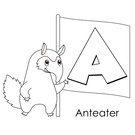 Coloring Alphabet for Kids, A with anteater Vector