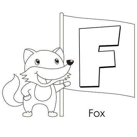 Coloring Alphabet for Kids, F with fox. Vector