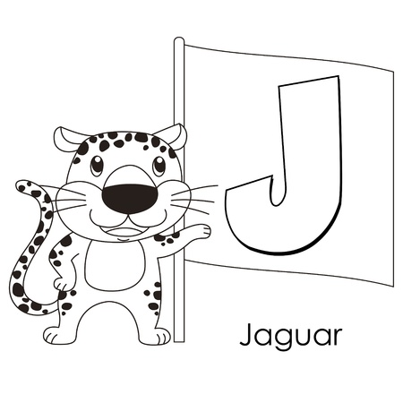 Coloring Alphabet for Kids, J with jaguar. Vector