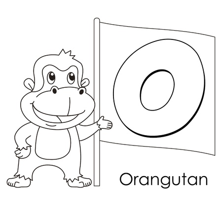 Coloring Alphabet for Kids, O with orangutan  Vector