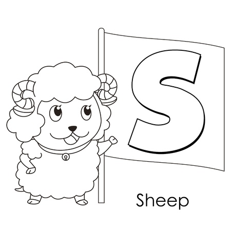 clip art draw: Coloring Alphabet for Kids, S with sheep