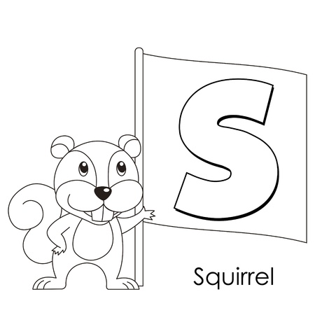 Coloring Alphabet for Kids, S with squirrel  Vector