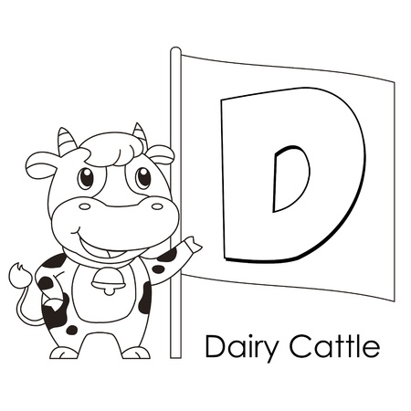 Coloring Alphabet for Kids, D with dairy cattle  Vector