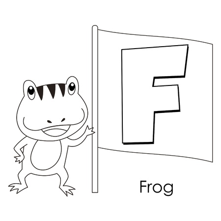 Coloring Alphabet for Kids, F with frog  Vector