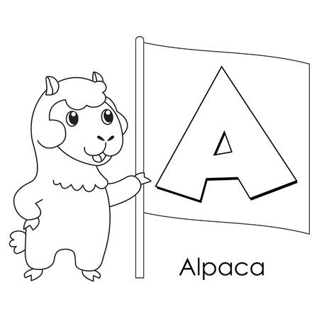 Alfabeto Del Colorante Para Los Niños, Con Una Alpaca Ilustraciones ...