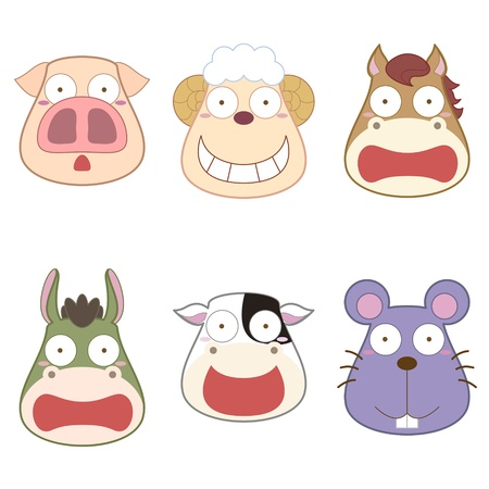 cartoon animal head set Vector