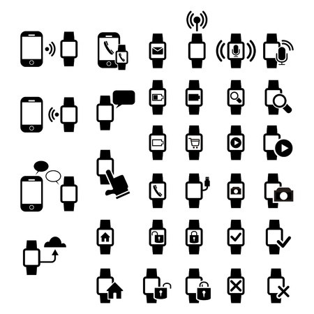 mobile and smart watch icon set