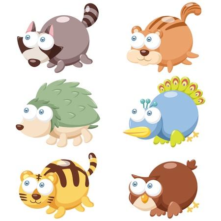 coon: illustration of cute cartoon animal set  Illustration