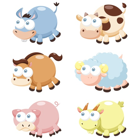illustration of cute cartoon animal set  向量圖像