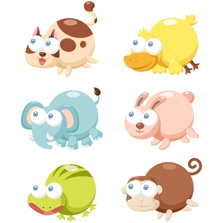 illustration of cute cartoon animal set  Vector