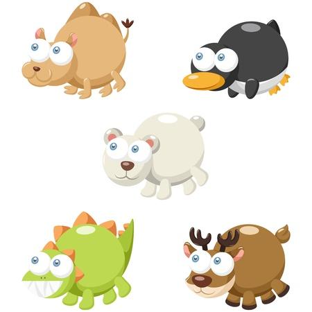 illustration of cute cartoon animal set  Vector