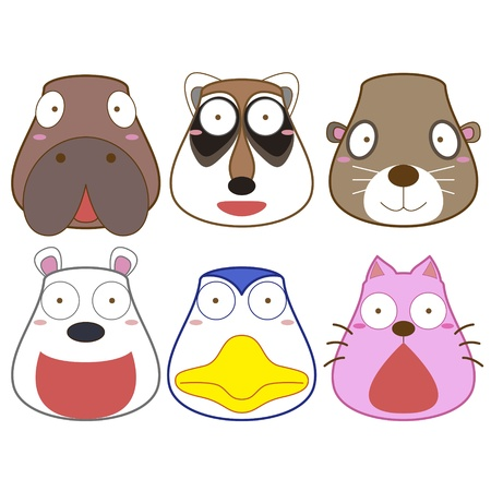 manatee: cartoon animal head set