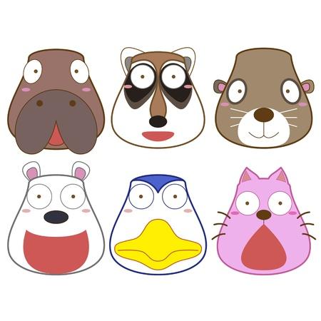 sea otter: cartoon animal head set