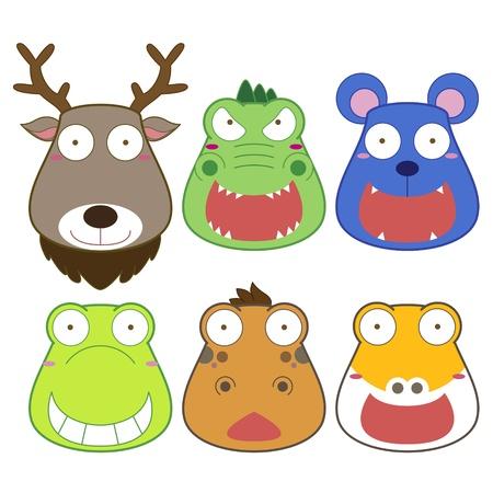 alligator cartoon: cartoon animal head set