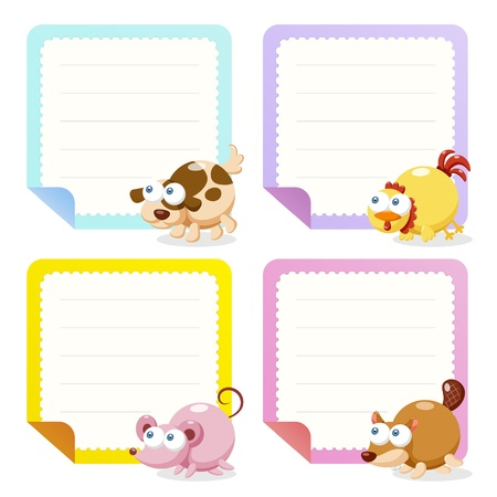 cute animal note papers collection, illustration  Vector