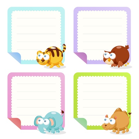 animal frame: cute animal note papers collection, illustration