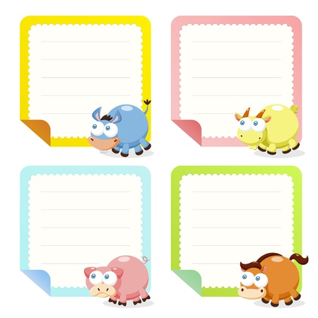 baby goat: cute animal note papers collection, illustration