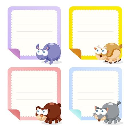 귀여운 동물 참고 논문의 컬렉션, 그림