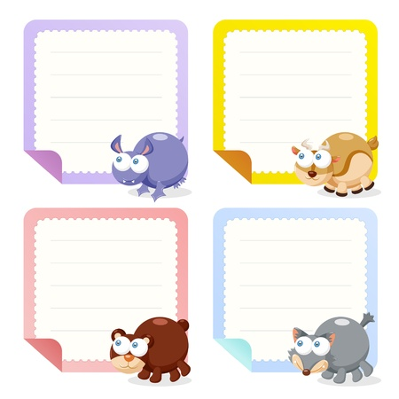 cute animal note papers collection, illustration