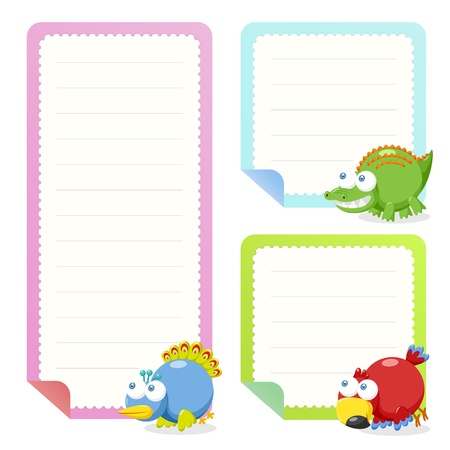 cute animal note papers collection, illustration Stock Vector - 20167400