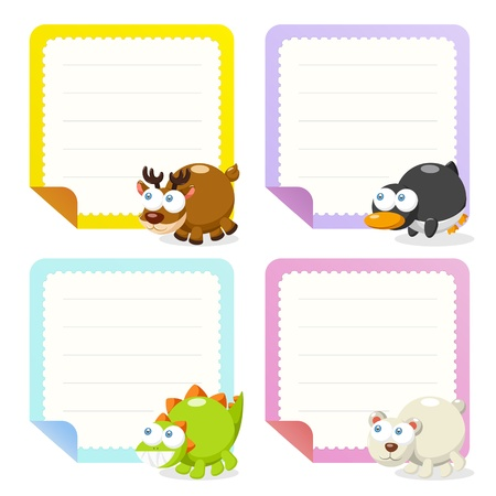 cute animal note papers collection, illustration  Stock Vector - 20167404
