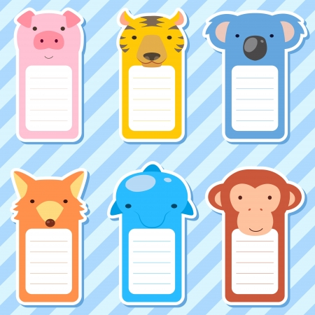 sticky note: six cute animals set of scrapbook elements.