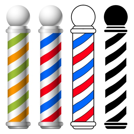sign pole: illustration of barber shop pole set.