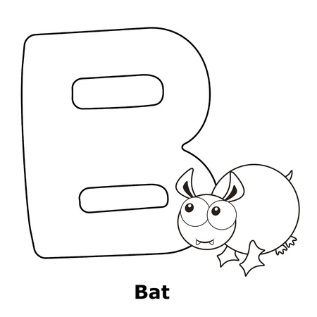 Coloring Alphabet for Kids, B with bat. Vector