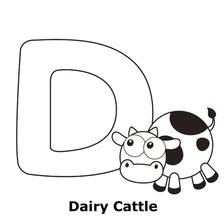 spelling: Coloring Alphabet for Kids, D with dairy cattle.