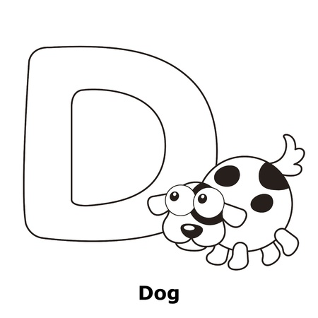 d: Coloring Alphabet for Kids, D with dog.
