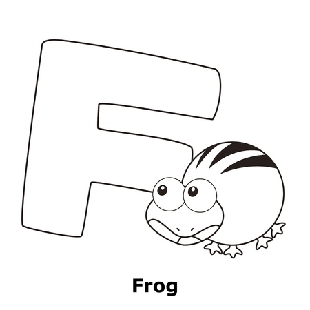 Coloring Alphabet for Kids, F with frog. Vector