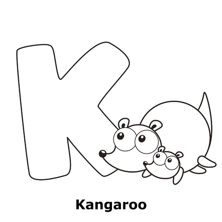 Coloring Alphabet for Kids, K with kangaroo. Vector