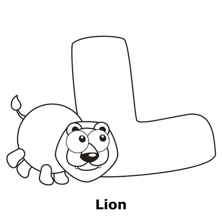 the infancy: Coloring Alphabet for Kids, L with lion.