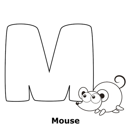 Coloring Alphabet for Kids, M with mouse. Vector