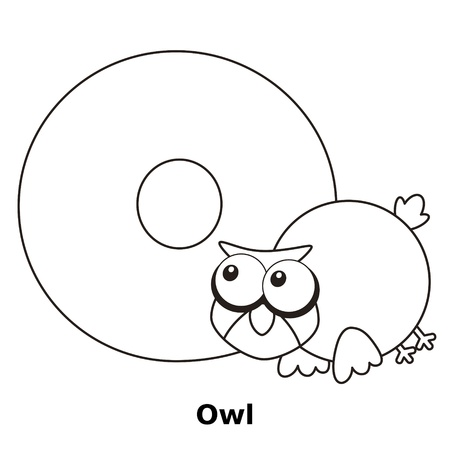 Coloring Alphabet for Kids, O with owl. Vector