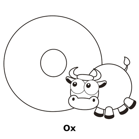 funny ox: Coloring Alphabet for Kids, O with ox.
