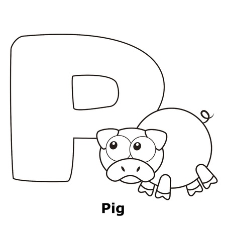 Coloring Alphabet for Kids, P with pig. Vector