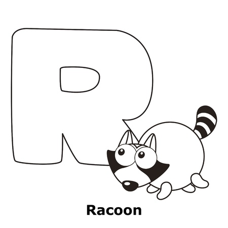 racoon: Coloring Alphabet for Kids, R with racoon.