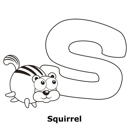 Coloring Alphabet for Kids, S with squirrel. Stock Vector - 20335693